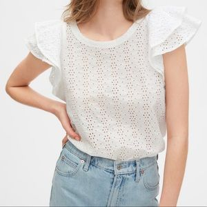 NWT gap eyelet ruffle top